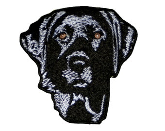 "Black Lab Labrador Retriever Dog Embroidery Iron On Patch Applique 3"" Pet Hunting"