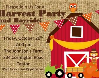 Pumpkin Patch Invitation, Fall Birthday Invitation,Harvest Party Hayride Birthday, Pumpkin Invitation, Printable Invitation, Farm Party