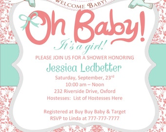 """DIY Printable Girl Baby Shower Invitation SQUARE 5""""x5"""" Damask with Oh Baby and Birds Pink and Teal Invitation