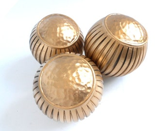 """4 1/2"""",Decorative Ball,Decorative Spheres,Set of 3,Living Room Spheres,Home Accent Spheres,Gold Balls,Centerpiece Balls, Decorative Balls"""