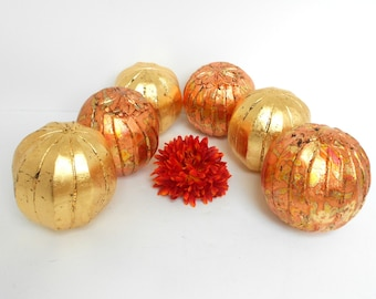 "Set of 6,Decorative Spheres,Centerpiece Balls Set,Copper & Gold Leaf Distressed Balls,Decorative Gold Spheres,5""1/2 Balls,Wooden Balls"