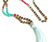Tassel Necklace Boho Jewelry Tassel  Long Bead Necklace Mala Bead Necklace, Mala Necklace Mala Beads 108 - Gift for friend Yoga Gift