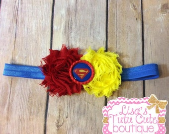Superman Inspired Shabby Headband. Superhero Headband. Superhero Shabby Headband.