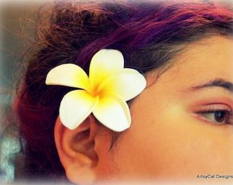 Plumeria Hair clip, YELLOW & WHITE Plumeria,Tropical hair flower,Frangipani, Hawaii Polynesian, Luau, Beach Wedding, FREE Mini Plumeria clip