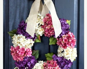 Extra Large Hydrangea Wreath for Summer Spring Wreath Hydrangea Wreath wreaths door wreath Summer wreaths for door - Wreaths