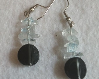 Opaque Black Glass with Pale Blue Rock Earrings