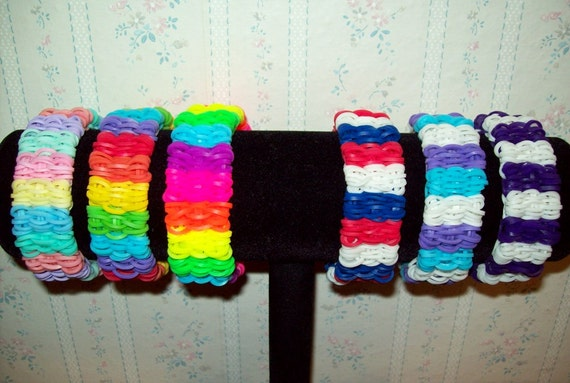 How To Make The Basket Weave Rainbow Loom : Rainbow loom shuffle basket weave rubber band cuff bracelet in