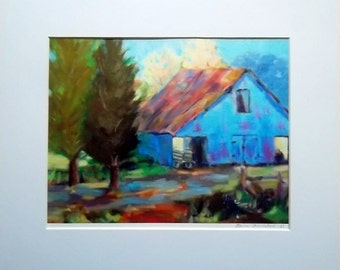 Barn   farm cotton shack country  10x8 GiClee Print with by artist Elaine Schulstad