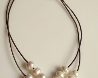 Freshwater pearls and leather