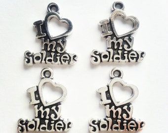 10 I Love My Soldier Charms, Pendants, 19x17mm, antique silver, military