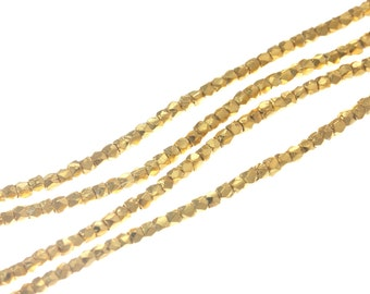 Gold Faceted Bead - Karen Hill Tribe Faceted Cube Bead, 1.2 mm - Gold plated / Gold coated