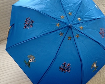 Nautical Themed Umbrella Hand Painted Mermaid Coral and Starfish Customized in Variety of Colors Personalized gift idea for kids and adults