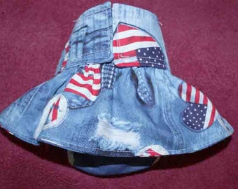 Female Dog Diapers / dog pantie / britches / Waterproof / Faded Denim and Peace Signs