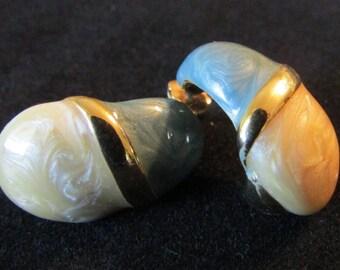 Two Tone Earrings, Swirling Enamel Earrings, Vintage Pierced Earrings, Blue Cream Marbleized Earrings, Gift Modern Earring, Free US Shipping