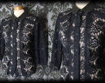 Gothic Black Lace Peter Pan Collar MALIGNANT Blouse Top 10 12 Victorian Vintage