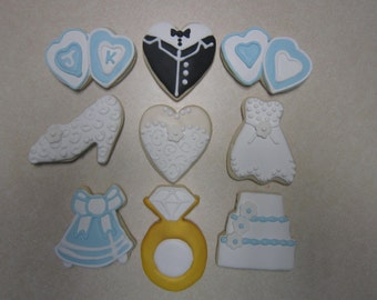 12 Hand Decorated Wedding Cookies
