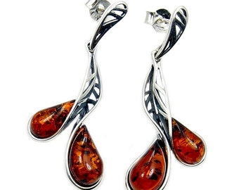 Natural Baltic Amber & .925 Sterling Silver Dangle Earrings , AD72