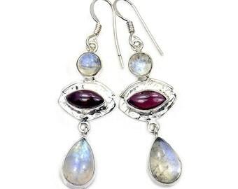 Rainbow Moonstone, Garnet & Sterling Silver Dangle Earrings ; Aa592