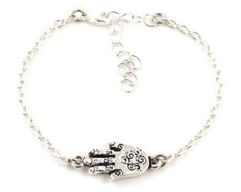 Silver plated hamsa hand bracelet - hand of fatima bracelet - armcandy