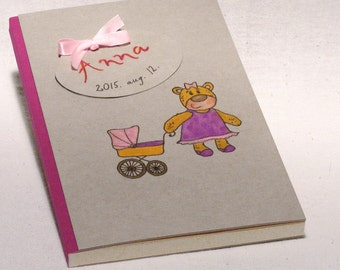 Baby Girl Journal, Memory Album, Personalized Baby Shower Gift, Blank Book for New Baby, Hand Painted Design Teddy Girl, New Born Gift