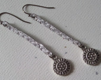 Hammered Silver with Antiqued Silver Floral Charm