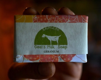 Geranium Goat's Milk Soap, essential oil, 3oz bar,