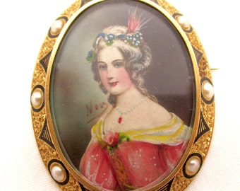 Antique Edwardian 22k GOLD PORTRAIT PENDANT Brooch Framed 22k Gold Taille d' Epargne Pearls Hand Painted Portrait Pin Pendant