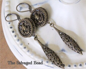 Antique Victorian Picture Button Earrings, circa 1880's by The Salvaged Bead