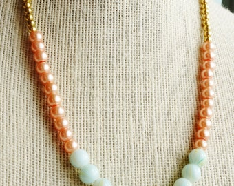 50% off SALE Necklace, Coral mint and Gold color block beaded necklace 1