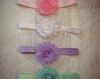 Newborn Headband,  Baby Headband, Shabby Chic Headband, Set of Headbands, Baby Hair Bow, Baby Couture Headband