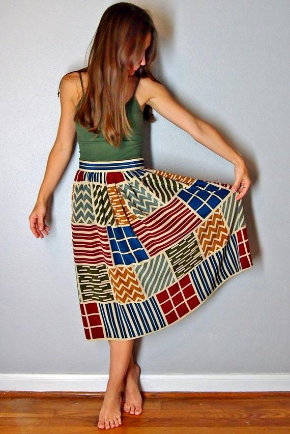 colorful geometric print midi skirt 1970s by