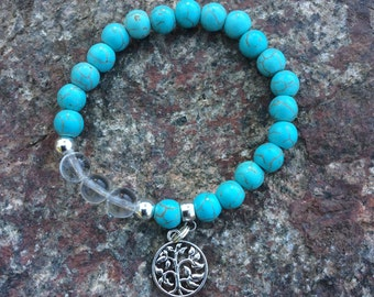 Turquoise Stretch Bracelet with Tree of Life Charm