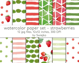 Watercolor Digital Paper, hand painted floral pattern seamless background strawberries stripes polka dots leaves foliage wedding easter (14)