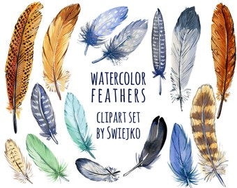 Boho Feathers Digital Clipart, watercolor, wedding invitation, invite, scrapbook, stationery, feathers printable, clip art, tribe