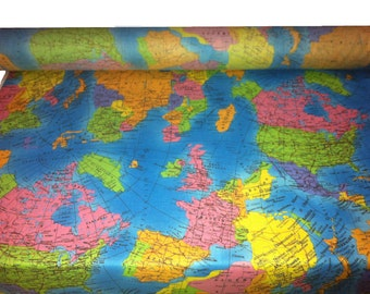 """GLOBE World Map  Fabric Material  - Soft 100% Cotton Poplin - 53"""" (136cm) wide - perfect fabric for kids - Turquoise Blue"""