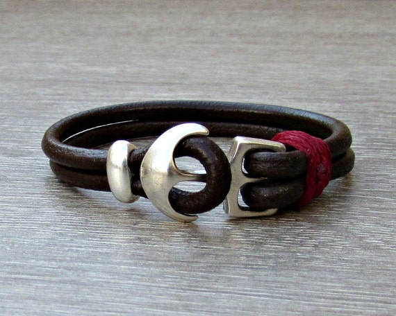 Sterling Silver 925 Anchor Mens Bracelet Mens Leather bracelet Cuff  Customized On Your Wrist