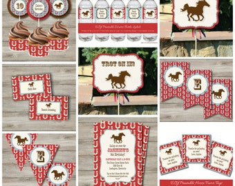 Horse Party Kit with Editable Text, Printable Horse Party Kit w/ Invitation, DIY Western Horse Birthday Party Kit, Girl's Horse Party Print