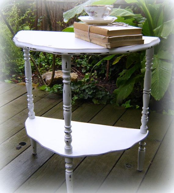 Painted Furniture Small Side End Table White Distressed Rustic