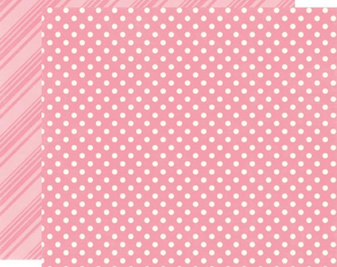 2 Sheets of Echo Park Paper DOTS & STRIPES Spring 12x12 Scrapbook Paper - Bubblegum (DS15005)