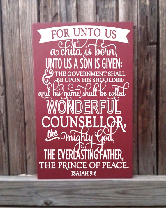Isaiah 9 For Unto Us A Child Is Born Christmas Scripture Art