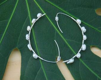 Pisces Half Moon Hoop Earring - Silver