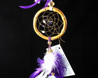 Handmade Purple and White dreamcatcher with a purple crystal, 3 inch, Car dreamcatcher, Native American inspired, tribal, wall hanging, boho