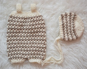 Short Overalls Pattern, Bonnet Pattern, Newborn Size, Photo Prop, Alston