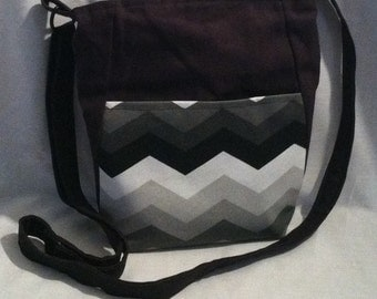 Crossover bag-Black with Black, Grey and White Chevron