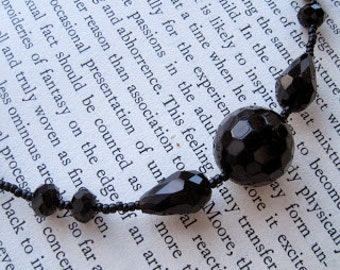 Edwardian  Black Crystal Necklace as Seen on TV -- Elegant and Refined