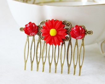 Red Flower Hair Clip / Red Roses Hair Piece  / Re Mum Flower Hair Clip / Wedding Hair Comb / Woodland Fascinator / Wedding Hair Piece
