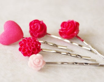 Valentine Hair Clip Set / Red Heart Hair Pin Set / Pink Flower Bobby Pin Set / Bridal Hair Pins / Pin-Up Hair Flower / Set of 5 Hair Pins