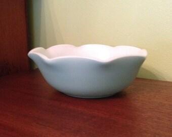 Vintage Hazel Atlas Turquoise Blue Opaque Ripple Bowl Hazel Atlas Glass Division of Continental Can Co. SALE