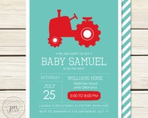 Tractor Baby Shower Invitation // Baby Shower Invitation // Red Tractor Baby Shower // Tractor Theme // DIY Printables