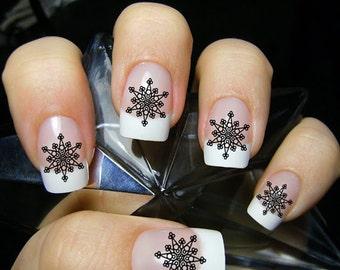 Snowflake nail decal etsy large black snowflake nail art christmas nails waterslide nail decals limited edition prinsesfo Choice Image